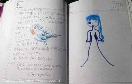 画像:左は私、右は末っ子の落書き