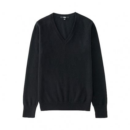UNIQLO WOMEN カシミヤVネックセーター(長袖)Black