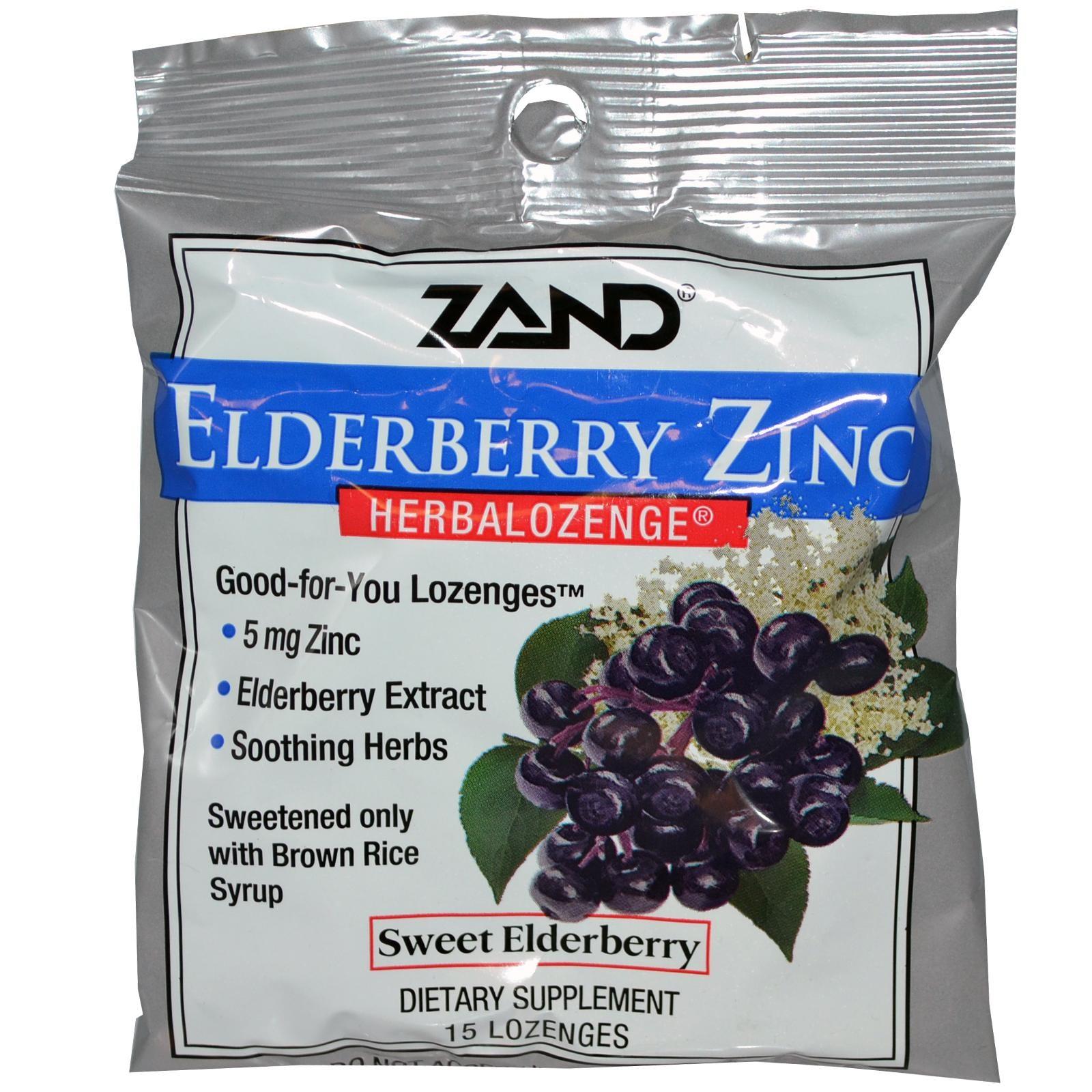 Zand, エルダーベリー亜鉛、Herbalozenge、甘いエルダーベリー、トローチ15個